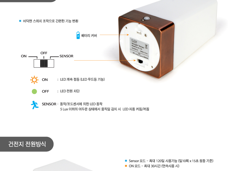 플램 센라이트 Romeo 무선 동작감지 LED 스탠드램프(FSL150) - 플램, 15,000원, 리빙조명, 테이블조명